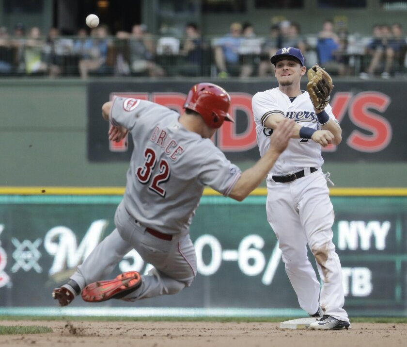 CORRECTS THAT BRUCE WAS SAFE, INSTEAD OF OUT - Cincinnati Reds' Jay Bruce is safe at second as Milwaukee Brewers' Scooter Gennett tries to turn a double play on a bases-loaded ball hit by Adam Duvall during the ninth inning of a baseball game Saturday, May 28, 2016, in Milwaukee. Bruce was original