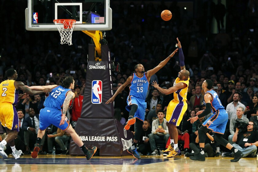 NBA disagrees with Kobe Bryant, no foul on late shot over Kevin Durant