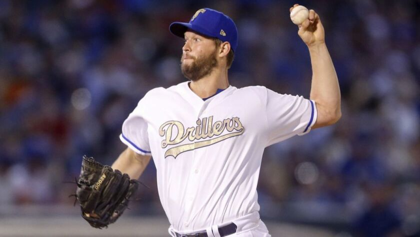 Los Angeles Dodgers pitcher Clayton Kershaw, playing for the Tulsa Drillers in a rehab assignment, t