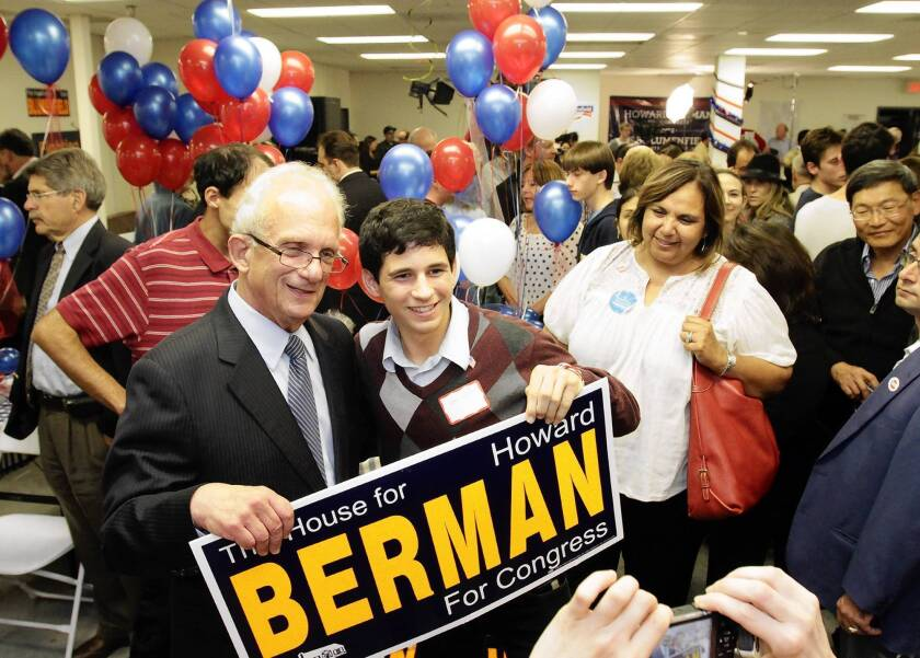 Democratic Rep. Howard Berman poses with young supporter Eytan Wallace at the congressman's election night party in Encino.