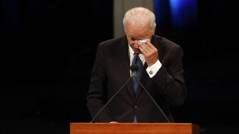 Former Vice President Joe Biden delivers a tearful tribute during a memorial service in Phoenix for his longtime friend Sen. John McCain.