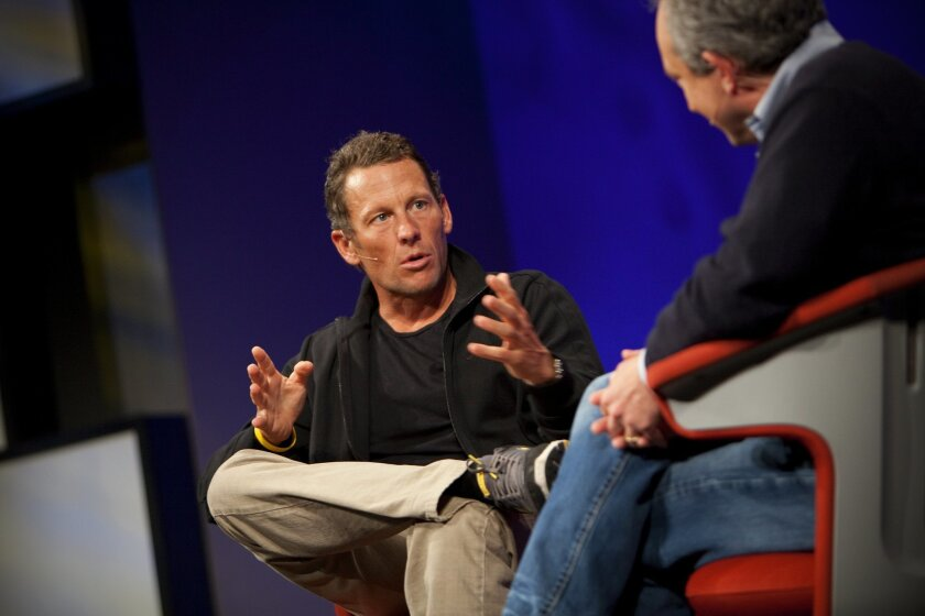 Retired distance cyclist Lance Armstrong talked about his efforts to fight cancer at the TEDMED conference in Coronado this week.