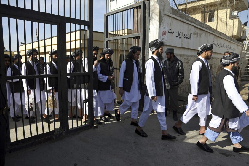 FILE - In this Jan. 11, 2018 file photo, Afghan prisoners prepare to be released from Pul-e-Charkhi prison, in Kabul, Afghanistan. A new report conducted jointly by the U.N. mission to Afghanistan and the U.N. Human Rights Office said Wednesday, Jan. 3, 2021, that nearly a third of all detainees held in Afghan detention centers said they have suffered from some form of torture or ill-treatment. The alleged torture included beatings, suffocation and electric shocks. (AP Photo/Rahmat Gul, File)