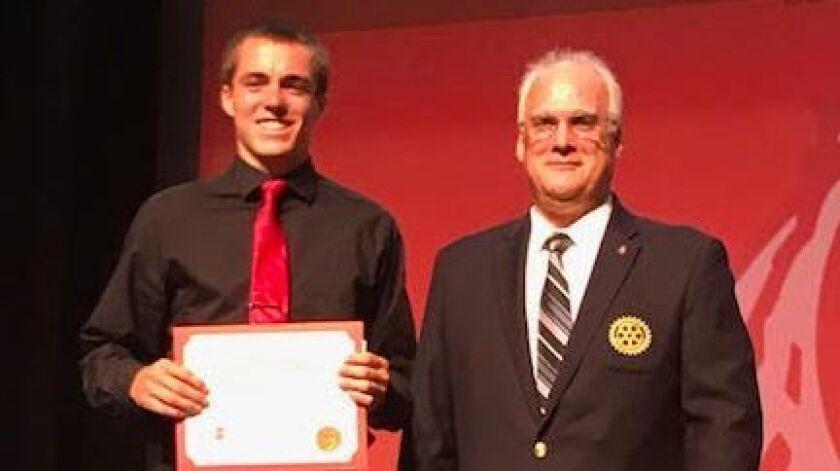 Mark Polarek (right) of the Fallbrook Sports Association presented the Duke Snider Scholarship of $5