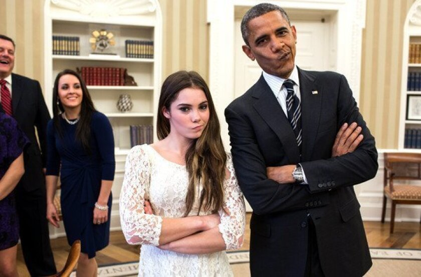 "President Obama strikes the ""not impressed"" pose with Olympic gymnast McKayla Maroney on Thursday in the Oval Office of the White House."