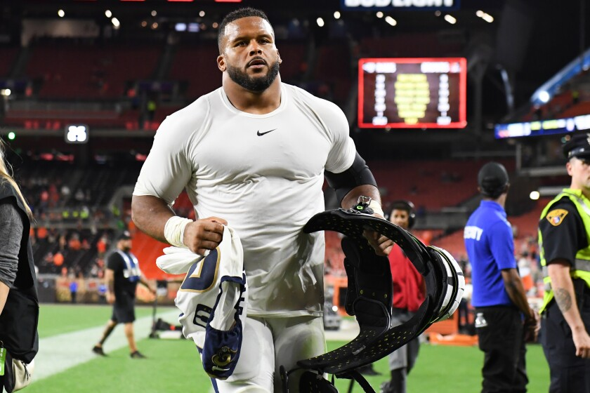 Rams defensive tackle Aaron Donald runs off the field after a September win in Cleveland.
