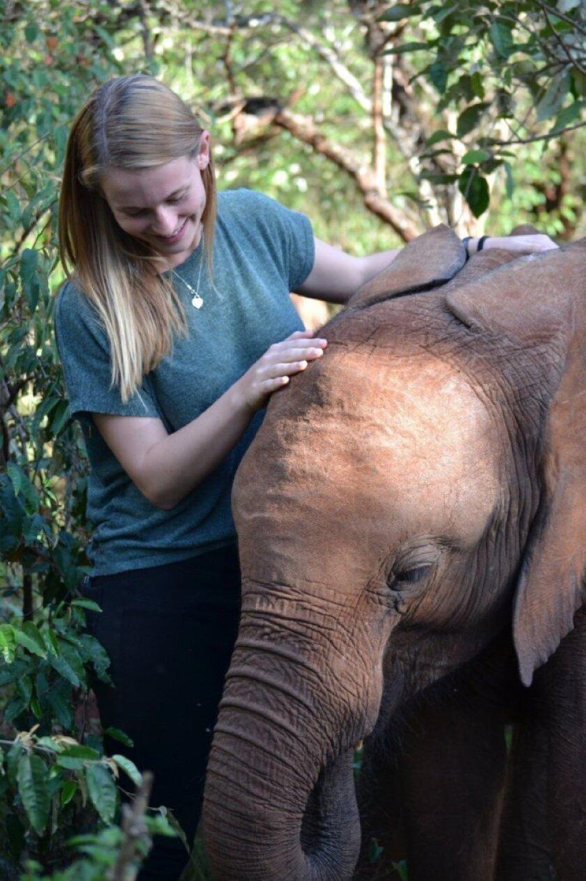 Shannon Yogerst and Kamok at the Daphne Sheldrick Elephant and Rhino Orphanage. Courtesy photo