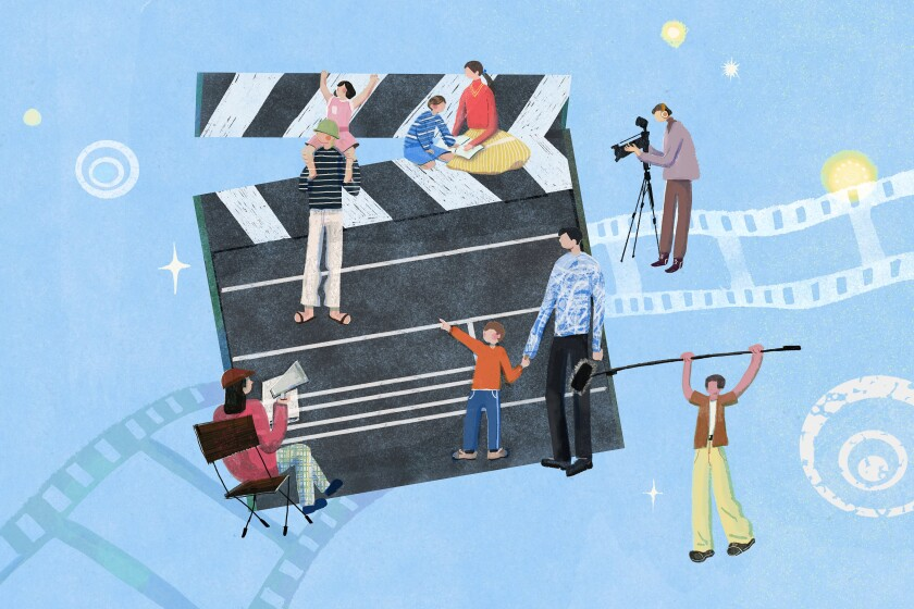 Illustration depicting family members working on films together