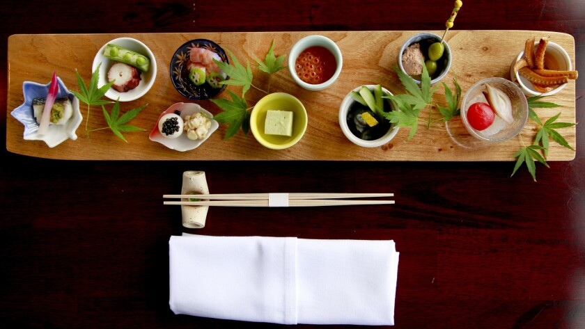An appetizer plate at Shunji Japanese Cuisine.