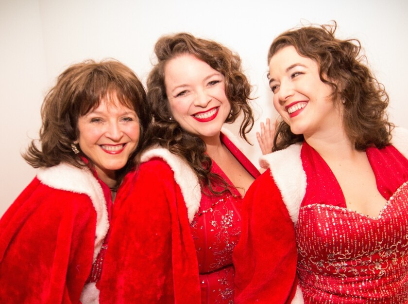 """Colleen Raye, Jennifer Grimm and Sophie Grimm in North Coast Rep's """"Girl Singers of the Hit Parade."""""""