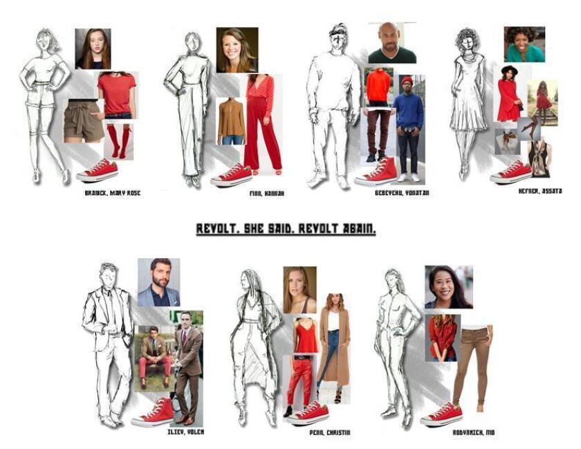 """Costumes sketches by Annie Le for 'Revolt She Said. Revolt Again,"""" which will be performed 7 p.m. March 6 (preview), in UC San Diego's Forum Theater Building with 7:30 p.m. shows March 8, 9, 10, 16 and 17; 2 p.m. March 10, 2018."""