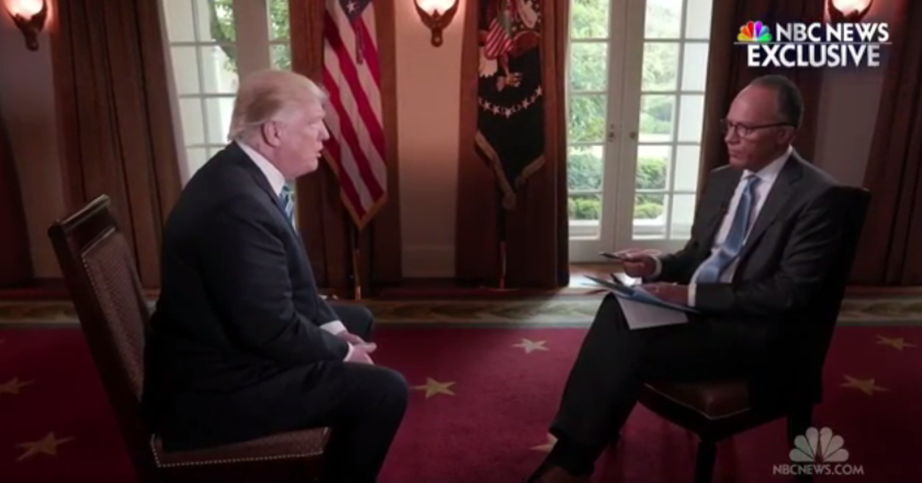 President Trump sits down for an interview this week with Lester Holt of NBC News.