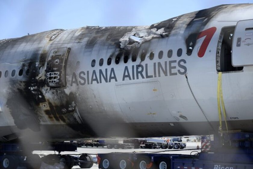 The wreckage of the Asiana Airlines Flight 214