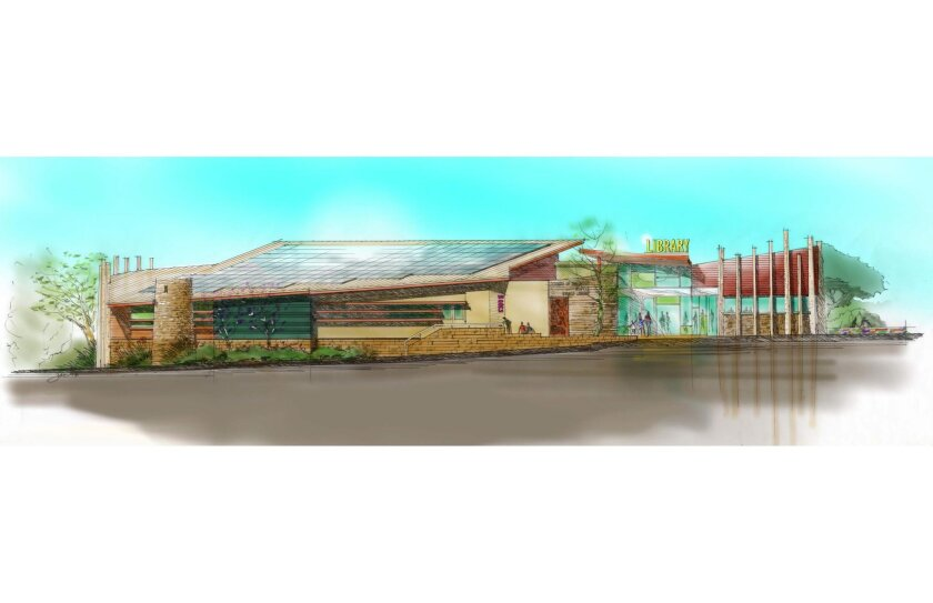 An artist's rendering of the coming Alpine library.