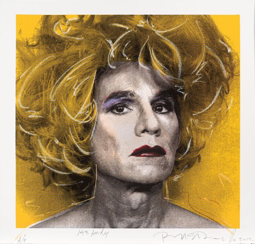 "Richard Duardo's ""Blonde Warhol"" (detail), 2012. Screenprint with pastel."