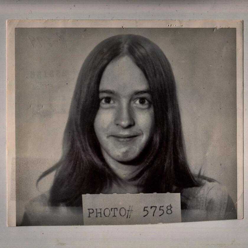"Mugshot of Manson Family member Susan Atkins, who died in 2009, in ""Helter Skelter."""