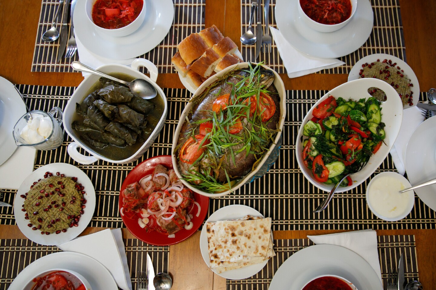 A meal prepared in Elmira Avetian's Glendale home illustrates the League of Kitchens' mission: teaching regional specialties via immigrant cooks from all over the world.