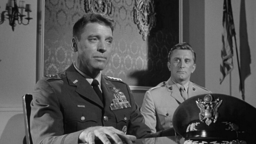 "Sedition on his mind: Right-wing Gen. James Scott (Burt Lancaster), flanked by aide and soon-to-be nemesis Kirk Douglas in ""Seven Days in May."""