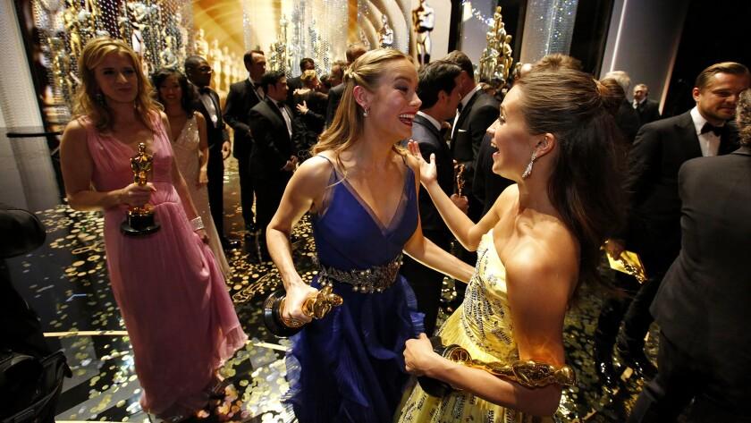 Brie Larson and Alicia Vikander backstage
