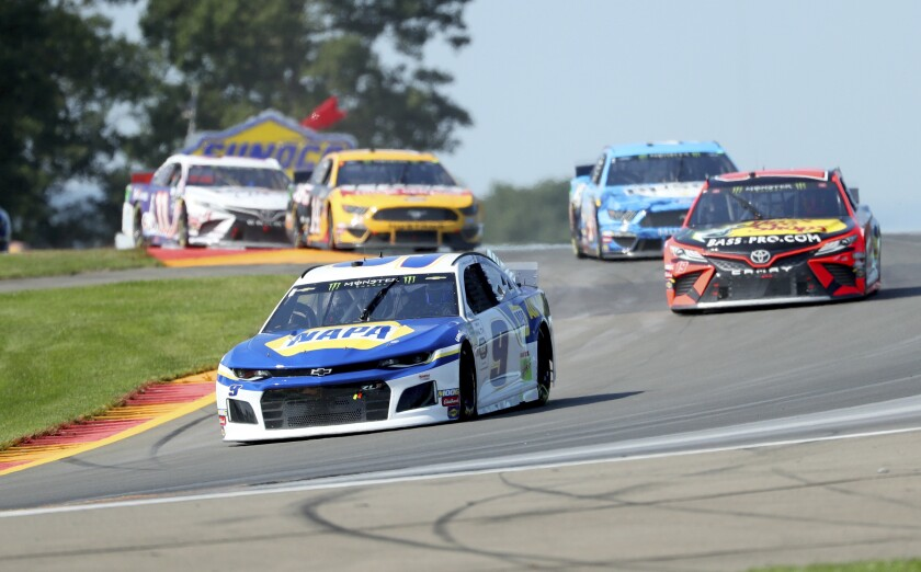Chase Elliott leads the field during a NASCAR Cup Series race at Watkins Glen International on Sunday.