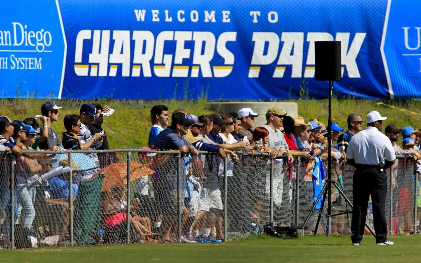 Fans watch the last open training camp practice at Chargers Park in Murphy Canyon.