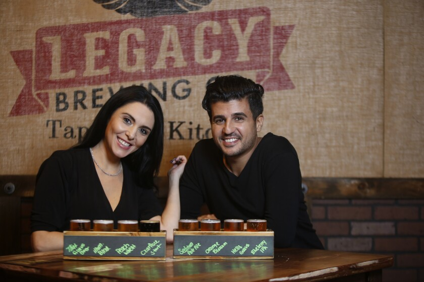 Pacific Magazine Blind Daters Lauren and Kevin stop a lot Legacy Brewing in Miramar for some food and a few more beers.