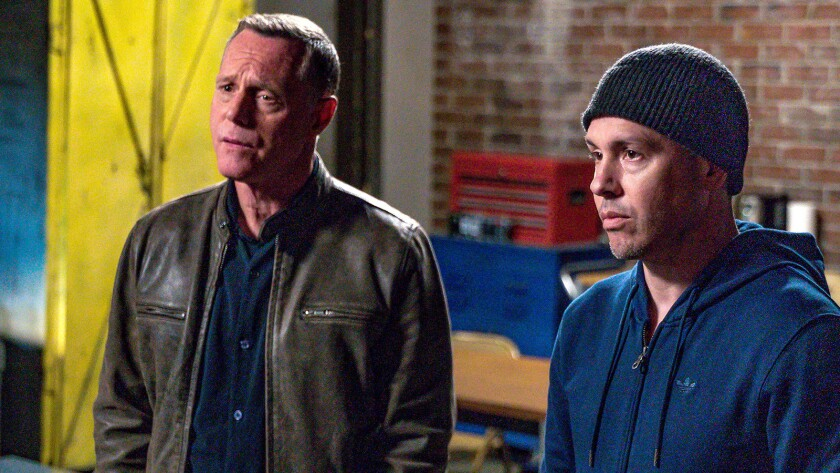 "Jason Beghe, left, and Jon Seda in ""Chicago PD"" on NBC."