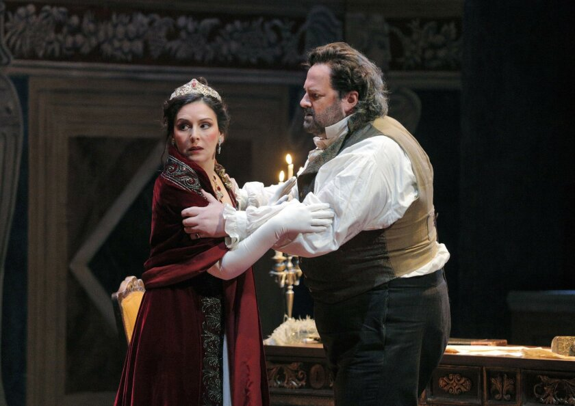 "Alexia Voulgaridou as Floria Tosca and Gwyn Hughes Jones as Mario Cavaradossi in San Diego Opera's ""Tosca."""