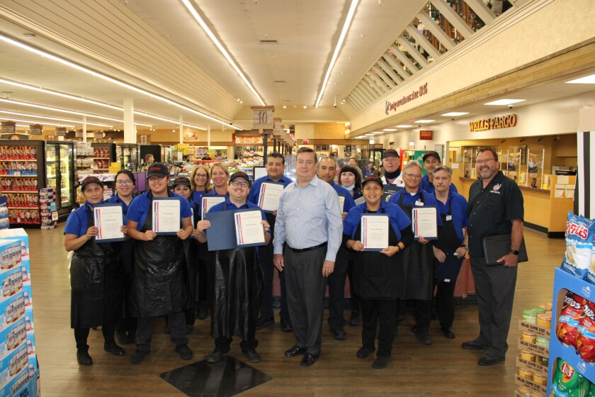 Stater Bros. employees were recognized by Supervisor Joel Anderson Sept. 6 for their dedication during the pandemic.