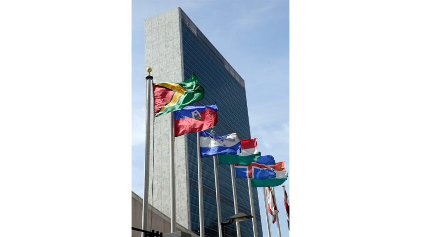 Flags of some of the 193 countries that are members of the United Nations fly in front of the U.N. building in New York.