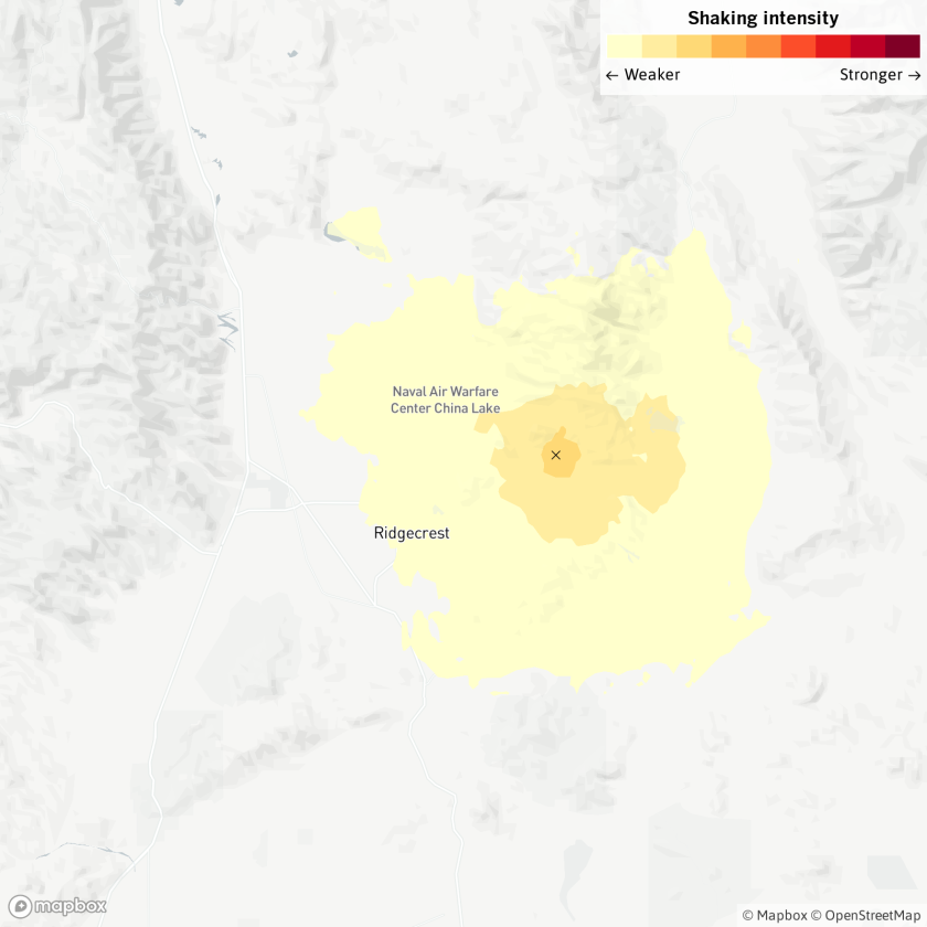 The earthquake was reported at 9:40 a.m. Wednesday six miles from Ridgecrest.