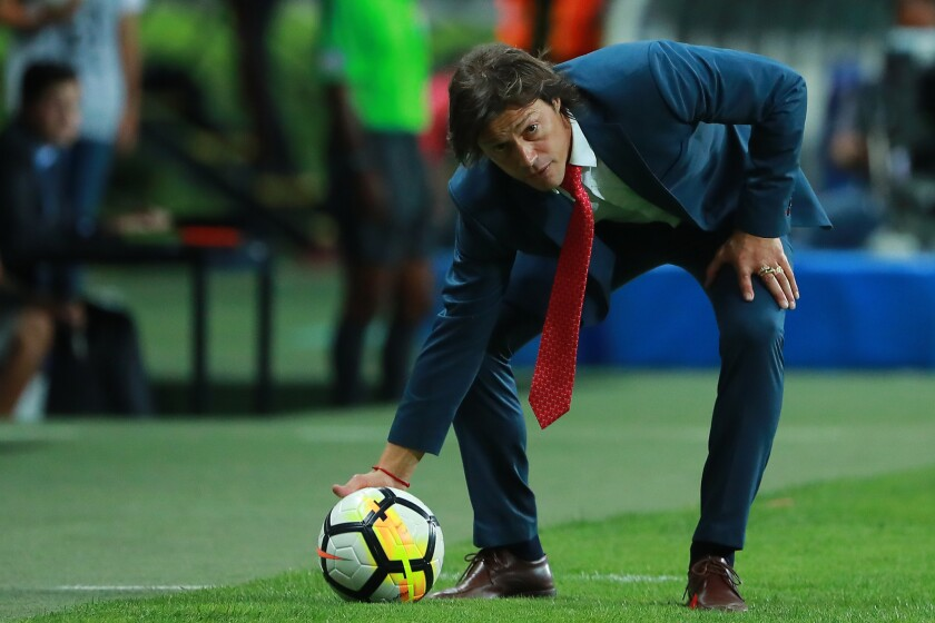 Matias Almeyda, Head Coach of Chivas stops a ball during the second leg match of the final between Chivas and Toronto FC as part of CONCACAF Champions League 2018 at Akron Stadium on April 25, 2018 in Zapopan, Mexico.