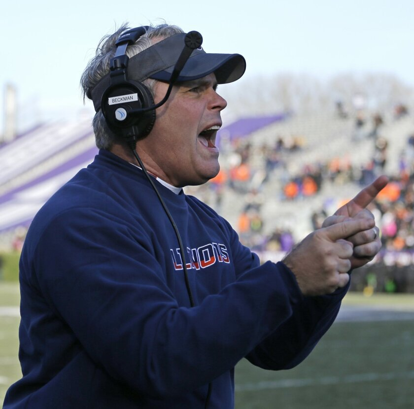 Illinois head coach Tim Beckman yells to his team during the second half of an NCAA college football game against Northwestern on Saturday, Nov. 29, 2014, in Evanston, Ill. Illinois won 47-33. (AP Photo/Nam Y. Huh)