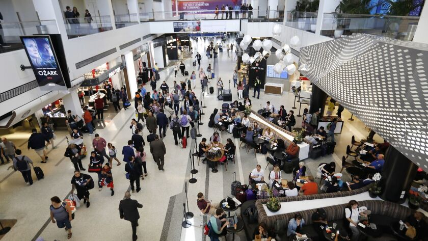 LOS ANGELES, CA - May 31, 2018: Passengers travel through the current LAX Delta Terminal 2 on May 31