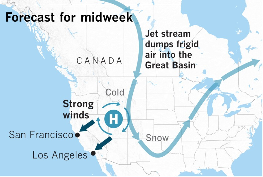 Jet Stream Forecast Map Canada Why this week's Santa Ana winds may be the strongest of the season