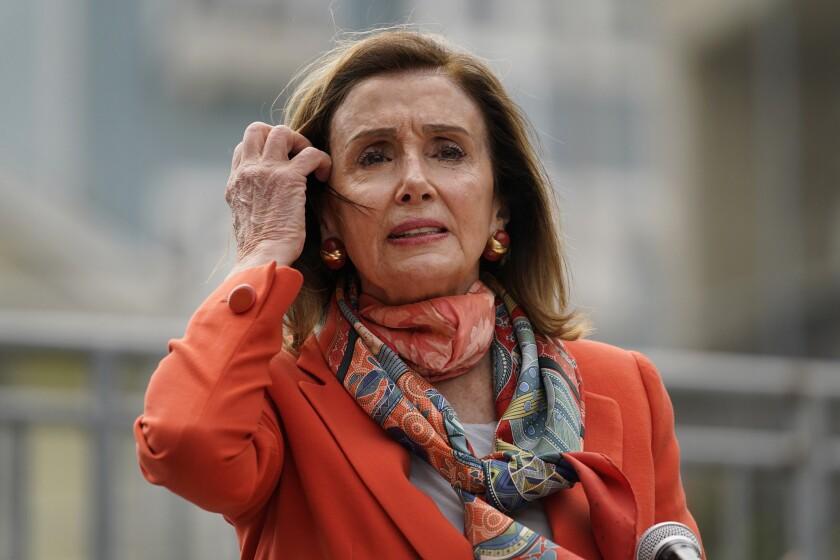 House Speaker Nancy Pelosi (D-San Francisco) speaks about her visit to a hair salon.