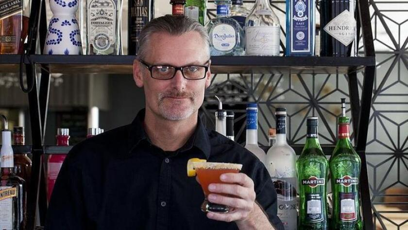 Ian Porter of Blue Ocean makes the refreshing cocktail, Tongue Twister. (Jarnard Sutton)