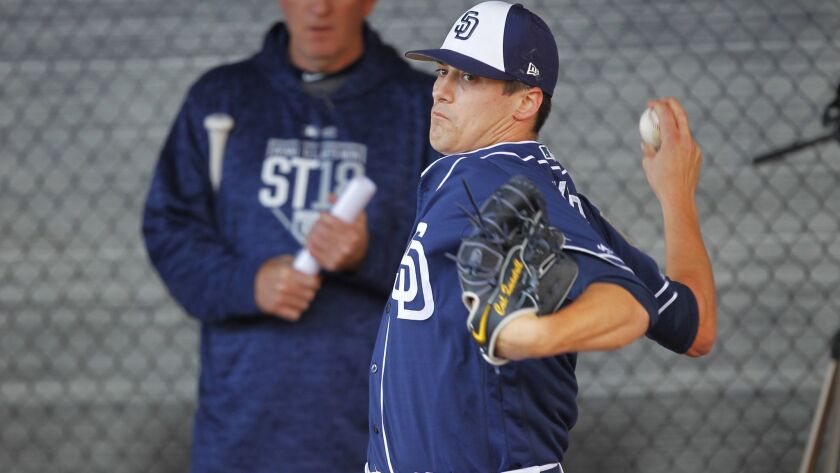 San Diego Padres pitcher Cal Quantrill throws during a spring training practice in Peoria on Feb. 19, 2018. (Photo by K.C. Alfred/ San Diego Union -Tribune)