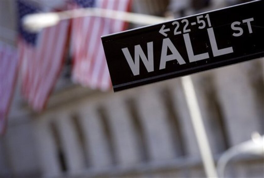 FILE - In this Sept. 15, 2008 file photo, a Wall St. street sign is seen near the New York Stock Exchange in New York. Investors are making few moves in early trading Wednesday, Dec. 2, 2009, after a private group's report showed job cuts declined in November for the eighth straight month, but not as much as forecast.(AP Photo/Jin Lee, file)