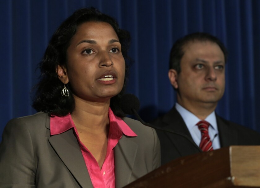 """Among the world's largest Internet-based currency companies, Liberty Reserve amounted to a financial hub for the black market, becoming """"the bank of choice for the criminal underworld,"""" Preet Bharara, the U.S. attorney in Manhattan, said Tuesday. Above are Bharara, right, and Mythili Raman, acting assistant attorney general for the criminal division of the Department of Justice."""