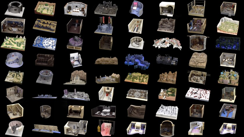 A collage of tiny dioramas against a black background.