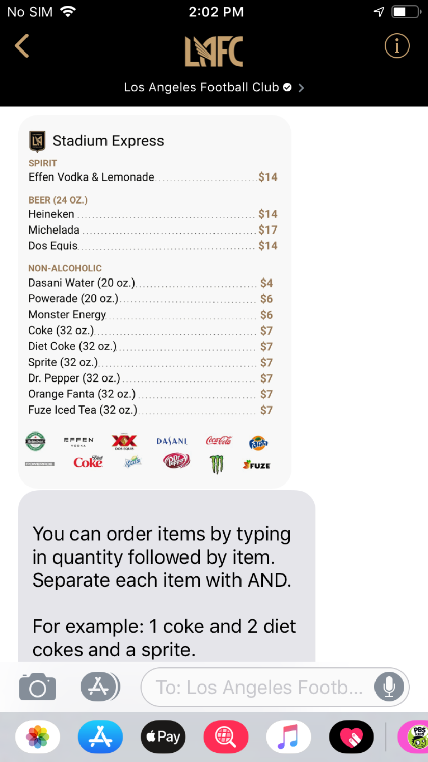 Fans can now order from their seats at LAFC home games using Apple Business Chat.