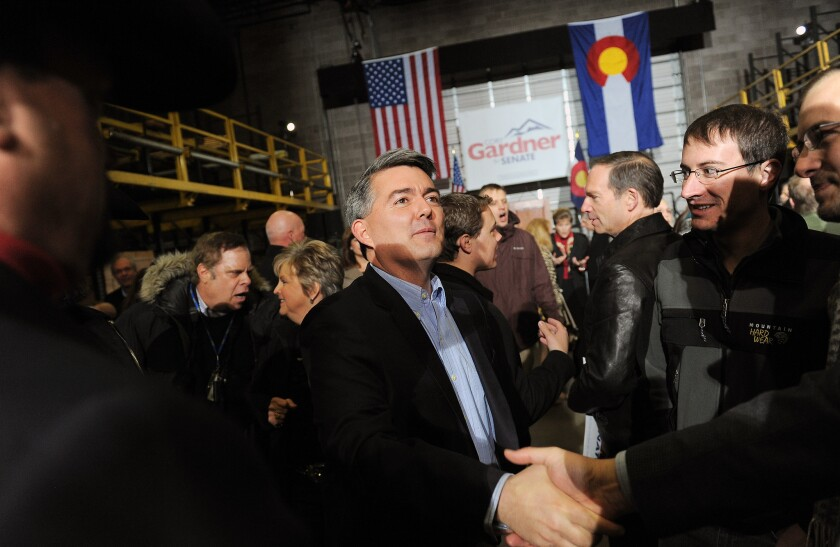 Sen. Cory Gardner (R-Col.) with supporters during his 2014 Senate campaign.
