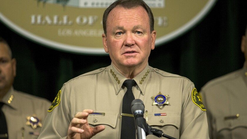 Los Angeles County Sheriff Jim McDonnell discusses crime statistics and other issues at the Hall of Justice