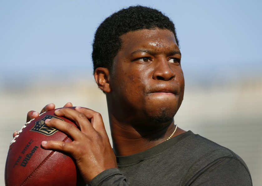 FILE - In this Aug. 15, 2015, file photo, Tampa Bay Buccaneers quarterback Jameis Winston warms up before a preseason NFL football game against the Minnesota Vikings at TCF Bank Stadium in Minneapolis. Florida State University said Monday, Jan. 25, 2016, it's settling a lawsuit with a former student who said she was raped by former star quarterback Jameis Winston. (AP Photo/Paul Sancya, File)