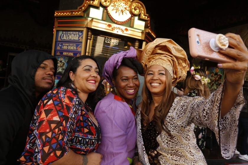 HOLLYWOOD, CA - FEBRUARY 17, 2018 - Cheyenne Martin, from right, takes a selfie with friends Chanell