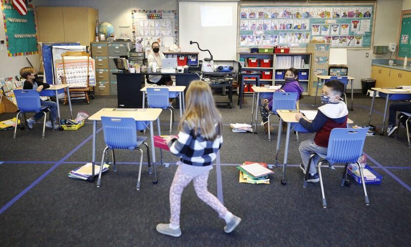First-graders work in a classroom at Alta Vista Elementary School in Redondo Beach
