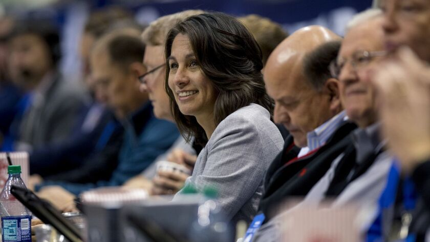 West Coast Conference commissioner Gloria Nevarez watches a men's basketball game between BYU and Gonzaga on Jan. 31.