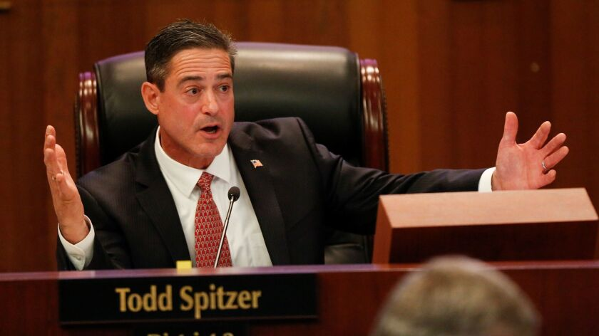 Orange County Supervisor Todd Spitzer, shown last month in Santa Ana, announced Monday that he will challenge Dist. Atty. Tony Rackauckas in 2018 for the top prosecutor job.