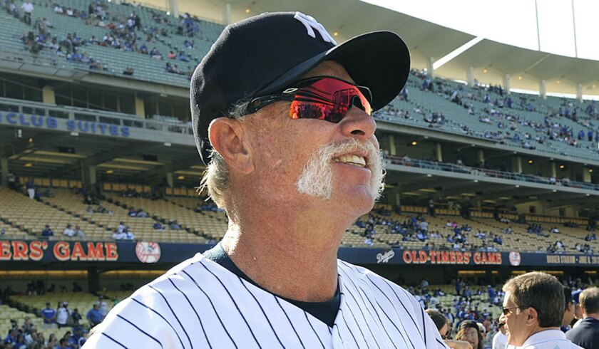 """Former Yankees pitcher Rich """"Goose"""" Gossage before an old-timers game at Dodger Stadium."""